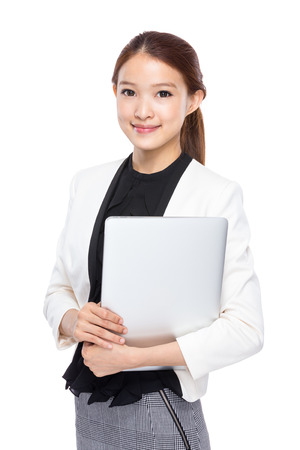 real esate: Business woman with laptop computer