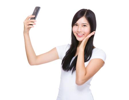 asian youth: Woman take selfie