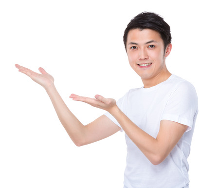 Asian man with two hand open palm photo