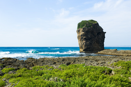 kenting: Rocky Coast along the Pacific Ocean, Kenting, Taiwan Stock Photo