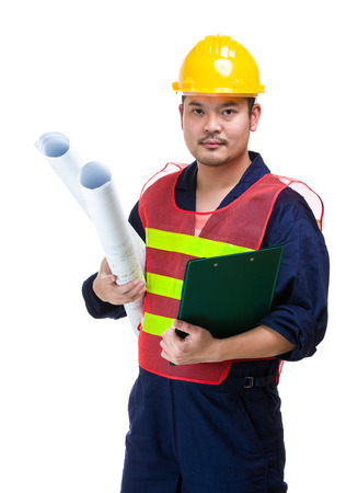 foreman: Asian foreman with clipboard and blueprint Stock Photo
