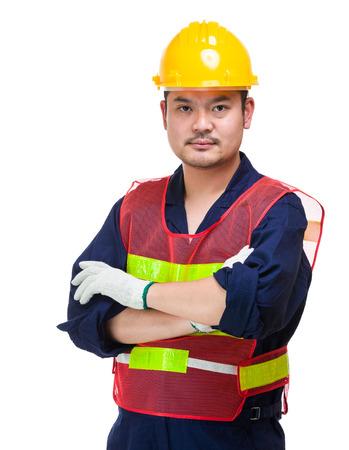 asian architect: Serious asian foreman Stock Photo