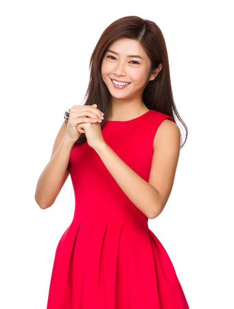 bless: Chinese Woman blessing you lucky Stock Photo