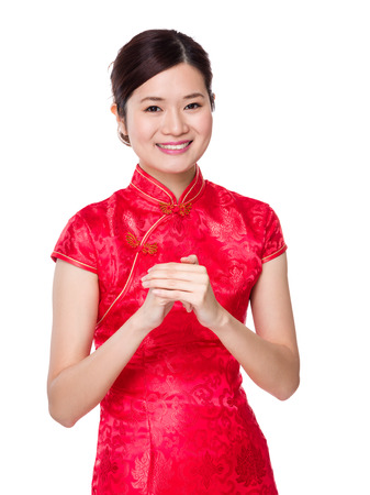 Chinese woman with celebration hand gesture photo