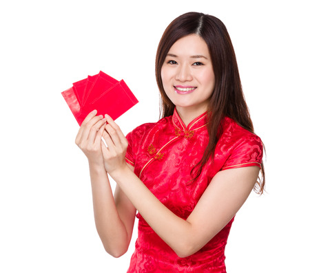 Woman hold lucky pocket money photo