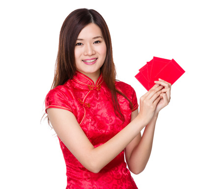 Chinese woman hold lucky pocket money photo