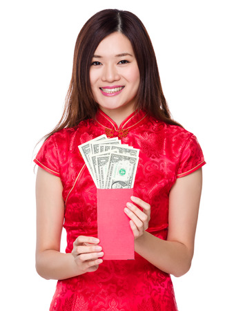 usd: Chinese woman hold lucky money with USD