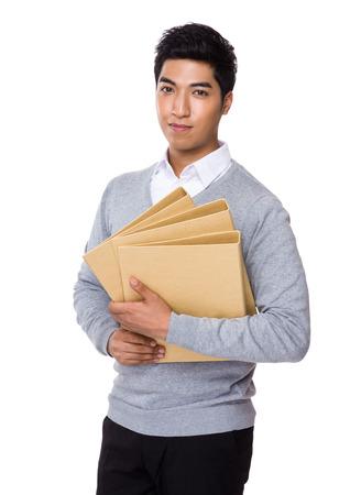 asian businessman: Businessman hold with folder