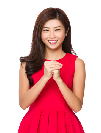 Woman with congratulation hand gesture photo