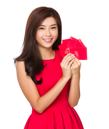 pocket money: Chinese Woman hold with lucky pocket money Stock Photo