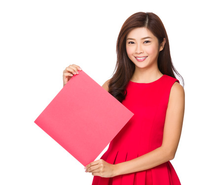 chun: Woman hold with square blank paper Stock Photo
