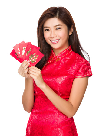 Chinese woman hold with lucky pocket money photo