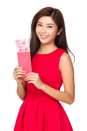 unwrapped: Woman with unwrapped chinese pocket money
