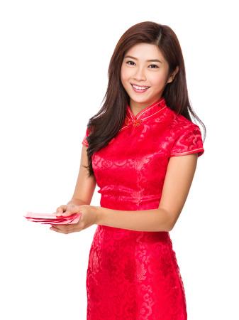 bolsa dinero: Mujer china le dan el dinero de bolsillo