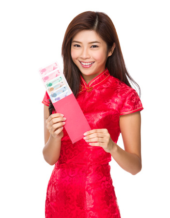 rmb: Chinese woman hold with red lucky money with RMB Stock Photo