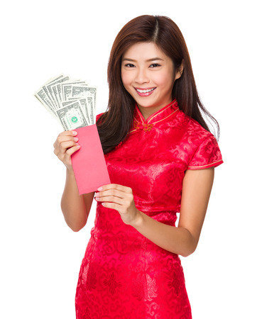 usd: Woman hold red pocket money with USD Stock Photo