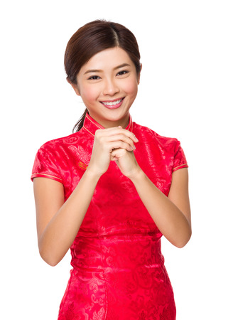 Chinese woman with congratulation hand gesture photo