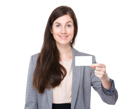 Businesswoman hold with namecard photo