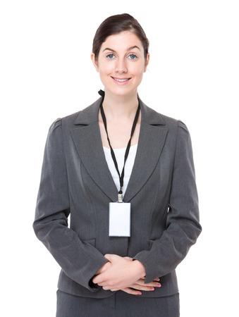 Businesswoman with namebadge photo