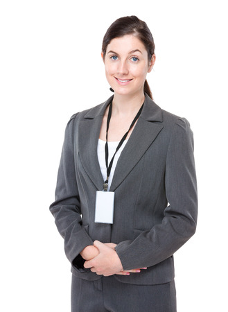 Businesswoman with name badge photo