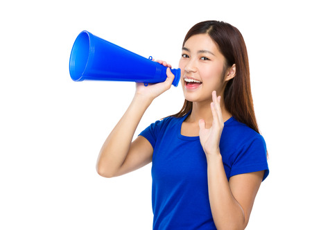 Woman shout with megaphone photo