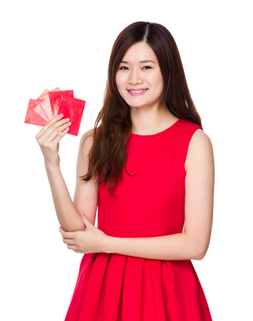 Woman hold with lucky money photo