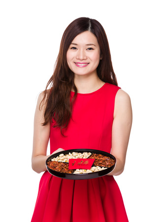 Woman hold with snack box for chinese new year