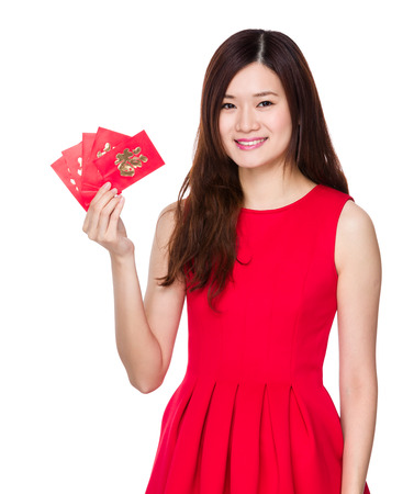 Woman hold with chinese lucky money photo