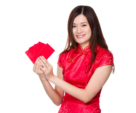Chinese woman hold with red pocket photo