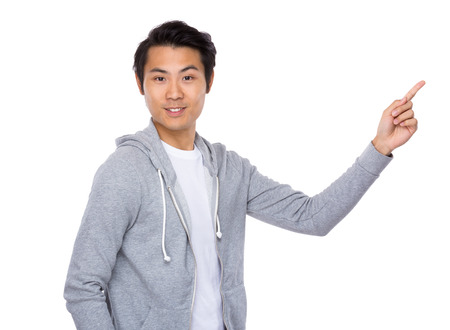 Asian man with finger show up photo