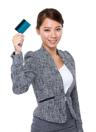 businesswoman card: Businesswoman hold with credit card