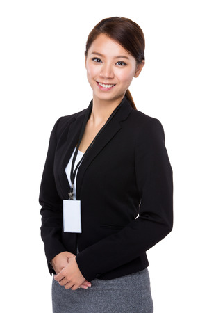 businesswoman card: Businesswoman with staff card Stock Photo