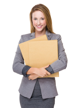 Businesswoman hold with folders photo