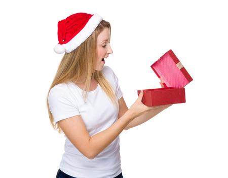 Christmas woman open with giftbox photo