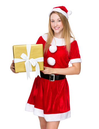 Christmas girl hold with big giftbox photo
