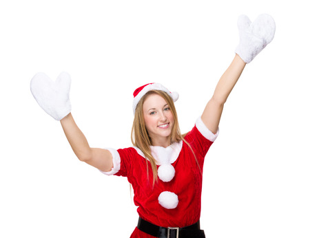 raise: Christmas woman raise up her hand with gloves
