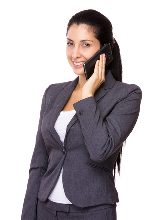 Business woman chat on mobile phone photo