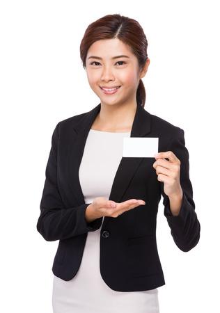 namecard: Asian businesswoman show with namecard Stock Photo