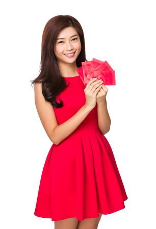 Chinese Woman hold with red lucky money photo