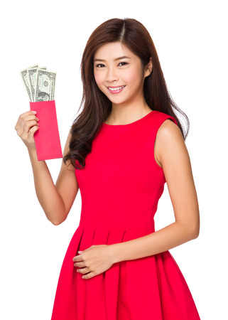 usd: Woman hold red pocket of USD