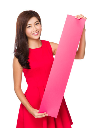 chun: Woman hold with rectangle of blank paper