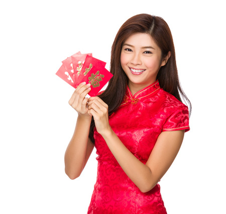 Woman hold with lucky pocket money photo