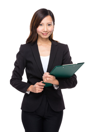 businesswoman suit: Business woman with clipboard