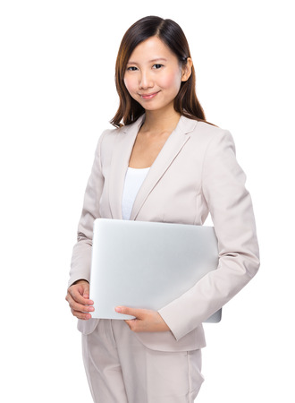 businesswoman suit: Businesswoman hold notebook
