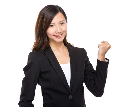 clench: Asian businesswoman arm clench