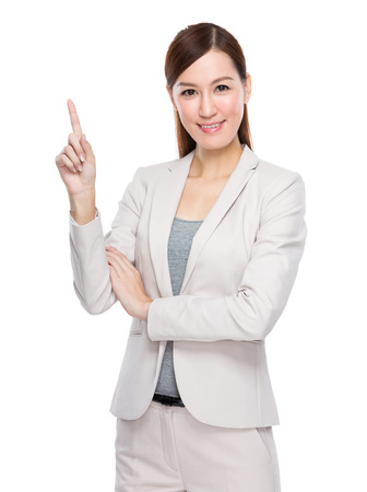 out of office: Businesswoman with finger up