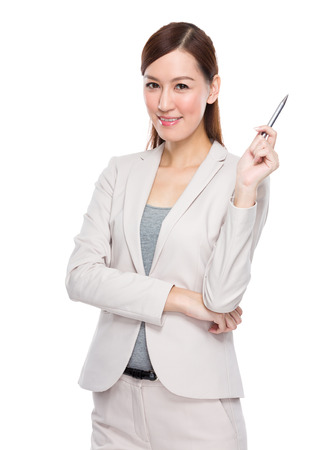 Businesswoman with pen up Imagens - 36392228