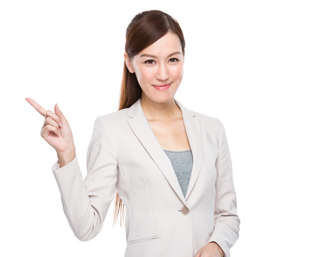 educadores: Empresaria con el dedo espect�culo fuera Foto de archivo
