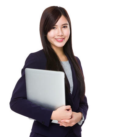 Businesswoman hold with laptop photo