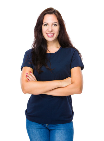 navy blue background: Brunette woman